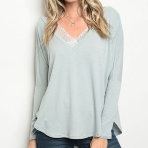 Lightweight Sage V Neck Lace Trimmed Top USA Made